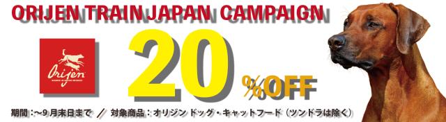 オリジントレインジャパン20%キャンペーン